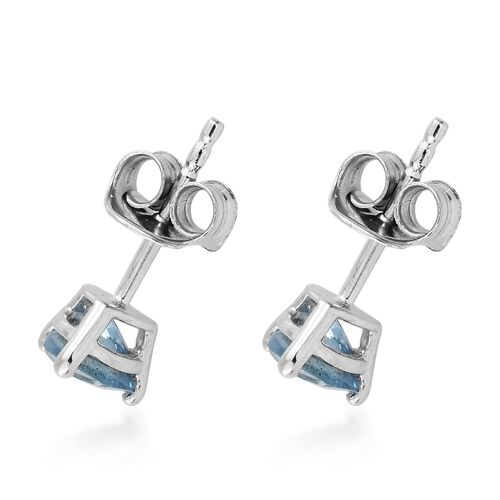 9K White Gold AA Santa Maria Aquamarine (Trl) Stud Earrings (with Push Back) 0.750 Ct.