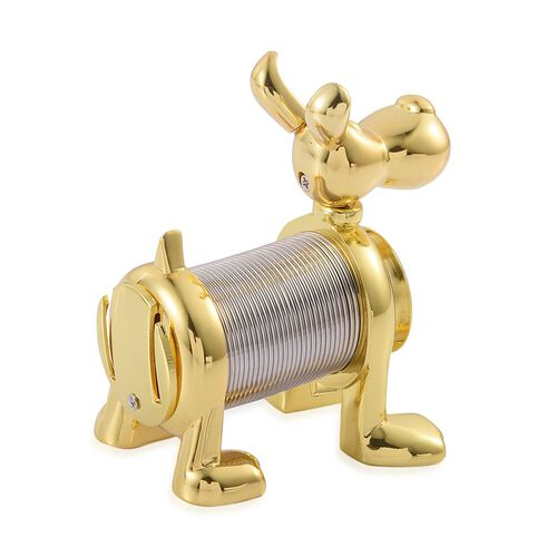 STRADA Japanese Movement Slinky Dog Table Clock in Gold Tone