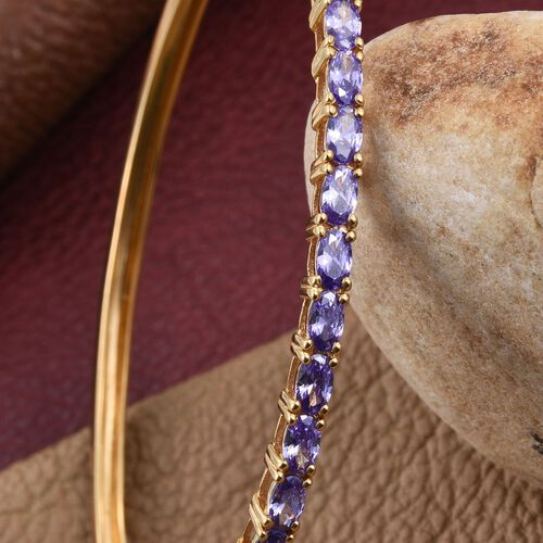 AAA Simulated Purple Sapphire (Ovl) Bangle (Size 7.5) in ION Plated 18K Yellow Gold Bond
