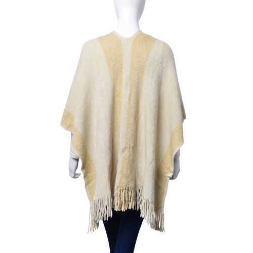 Designer Inspired Cream and Golden Wrap With Tassels (One Size fits all)