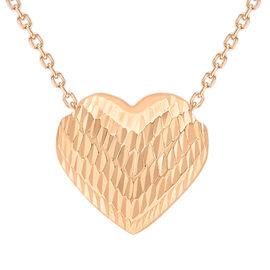 Limited Edition - Designer Inspired - Italian 9K R Gold Diamond Cut Sliding Heart Necklace (Size 18)