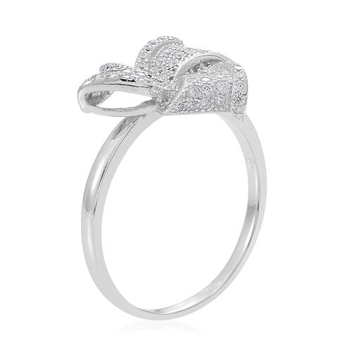 ELANZA AAA Simulated White Diamond (Rnd) Knot Ring in Rhodium Plated Sterling Silver
