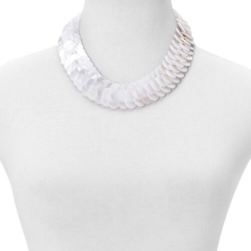 Designer Inspired - White Shell Coin Necklace (Size 18) 550.00 Ct.