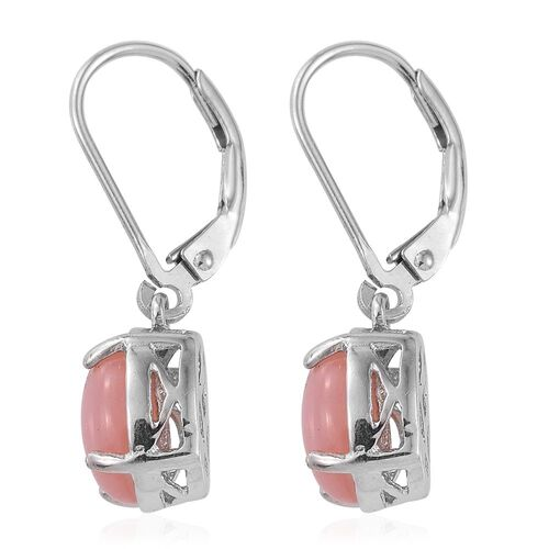 Natural Peruvian Pink Opal (Ovl) Lever Back Earrings in Platinum Overlay Sterling Silver 3.000 Ct.