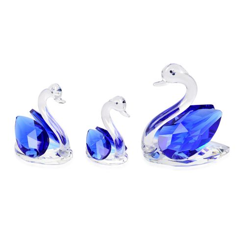 Home Decor - Set of 3 Blue Austrian Crystal and Faceted Glass Swan (Size 7X6.5X4 Cm, 5.5X5.5X3 Cm and 4.5X4X3 Cm)