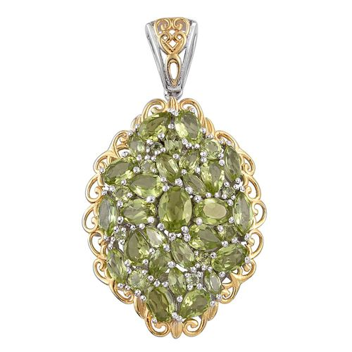 Cocktail Collection - Hebei Peridot (Ovl) Cluster Pendant in Platinum and Yellow Gold Overlay Sterling Silver 10.000 Ct. Silver wt 7.73 Gms.