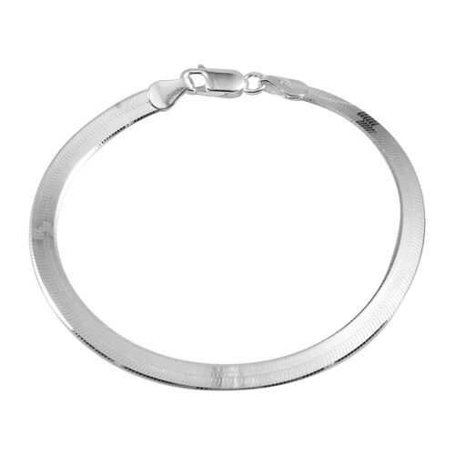 Close Out Deal Sterling Silver Flattened Snake Chain Bracelet (Size 7), Silver wt 4.70 Gms.