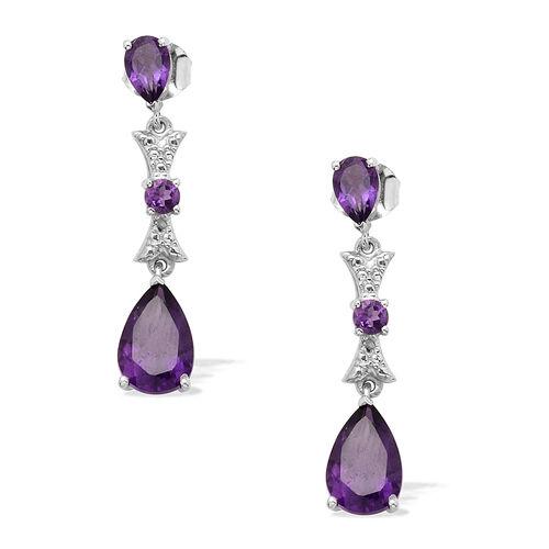 Zambian Amethyst (Pear), Diamond Earrings in Platinum Overlay Sterling Silver 3.500 Ct.
