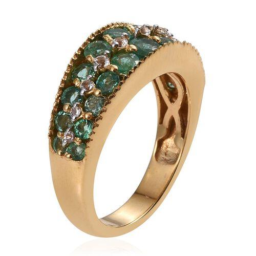 Kagem Zambian Emerald (Rnd), White Topaz Ring in 14K Gold Overlay Sterling Silver 2.000 Ct.