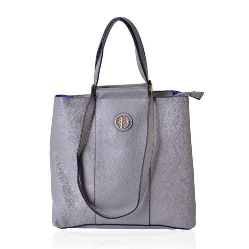 Dark Grey Colour Tote Bag with Shoulder Strap (Size 33x30.5x13.5 CM)