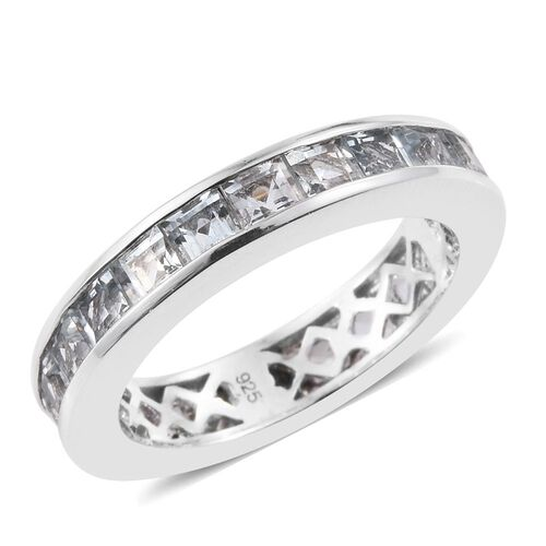 Aquamarine 3 Carat Silver Full Eternity Band Ring in Platinum Overlay