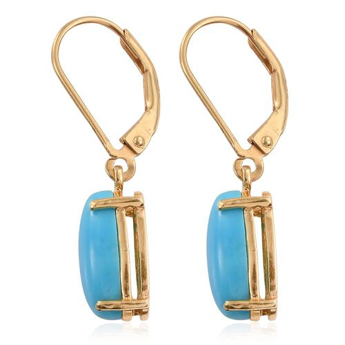 Arizona Sleeping Beauty Turquoise (Ovl) Lever Back Earrings in 14K Gold Overlay Sterling Silver 3.500 Ct.