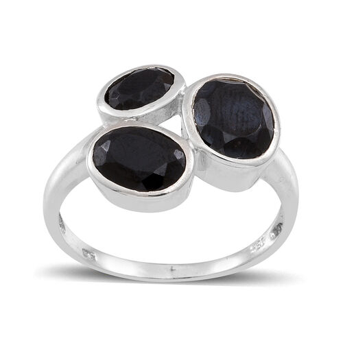 Boi Ploi Black Spinel (Ovl 2.00 Ct) 3 Stone Ring in Sterling Silver 4.500 Ct.