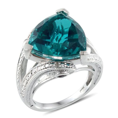 Capri Blue Quartz (Trl 11.75 Ct), Rhodolite Garnet and Diamond Ring in Platinum Overlay Sterling Silver 11.910 Ct.
