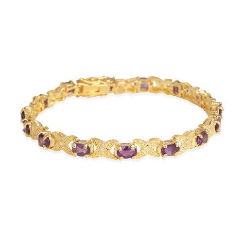 Lusaka Amethyst (Ovl), Diamond Bracelet (Size 7.75) in Gold Bond 6.600 Ct.