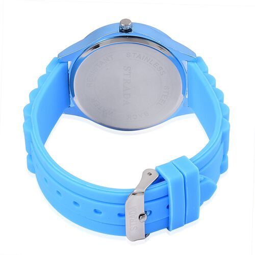 STRADA Japanese Movement Sky Blue Colour Dial Water Resistant Watch in Silver Tone with Stainless Steel Back and Sky Blue Colour Silicone Strap