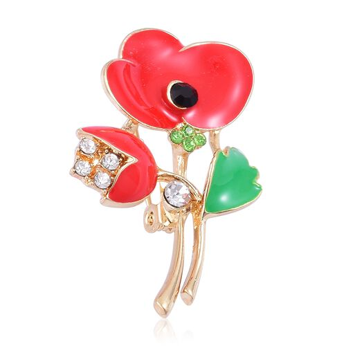 TJC Poppy Design - Multi Colour Austrian Crystal Red and Green Colour Enameled Poppy Flower Brooch in Yellow Gold Tone