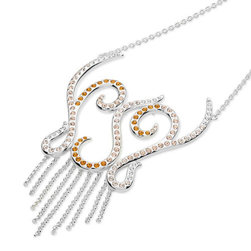 LucyQ Champagne, Orange and White Crystal Element Necklace (Size 16 with 4 inch Extender) in Sterling Silver 20.00 Gms.