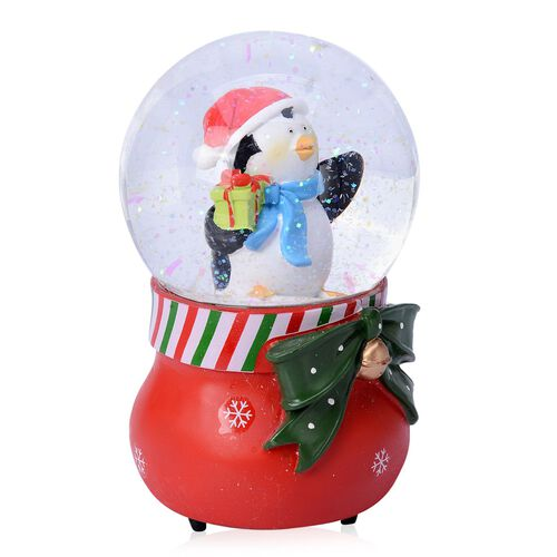Home Decor - Penguin with Red Scarf Glitter Musical Globe with Red Poinsettia and White Snowflake Base
