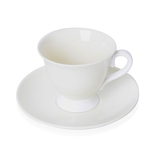 Set of 4 Cream Ceramic Tea Cups (9X8CM) with Set of 4 Saucer (14 Cm)