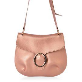 Rose Gold Colour Crossbody Bag with Adjustable Shoulder Strap (Size 29X25 Cm)