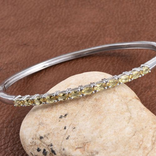 Marialite (Ovl) Bangle (Size 7.5) in Platinum Overlay Sterling Silver 2.500 Ct.