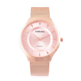 STRADA Japanese Movement Rose Sunshine Dial Water Resistant Watch in Rose Gold Tone with Stainless Steel Back