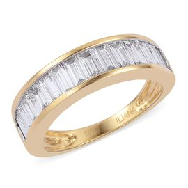 ILIANA 18K Yellow Gold IGI Certified Diamond (Bgt) (SI/G-H) Half Eternity Ring 1.500 Ct.