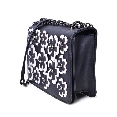 Black and White Colour 3D Floral Pattern Crossbody Bag with Removable Shoulder Strap (Size 20.5X13X4 Cm)