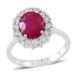 Signature Collection - RHAPSODY 950 Platinum AAAA Burmese Ruby (Ovl 3.25 Ct), Diamond (VS/E-F) Ring 4.150 Ct.Platinum Wt 6.50 Gms