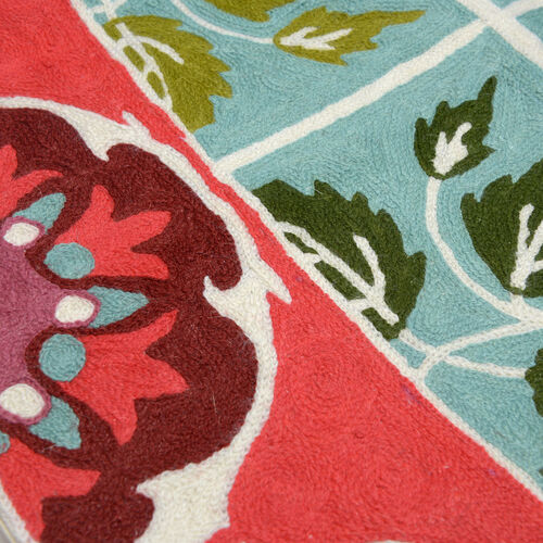 Home Textiles -  Hand Embroidered Multi Colour Leaves and Floral Pattern Woolen Bedside Rug (Size 90x60 Cm)