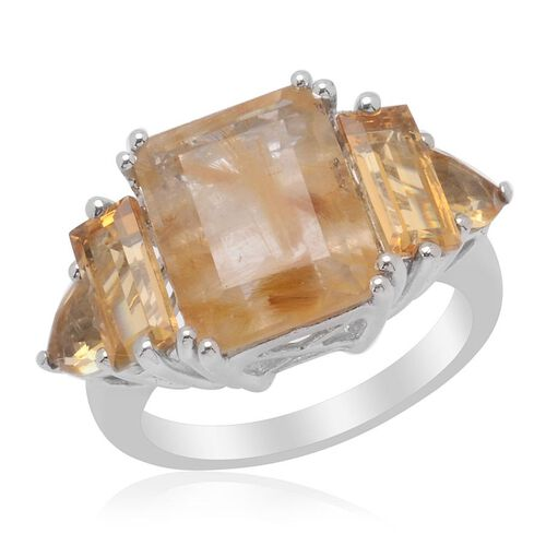 Aurelia Rutilated Quartz (Oct 4.50 Ct) Citrine Ring in Platinum Overlay Sterling Silver  6.500 Ct.