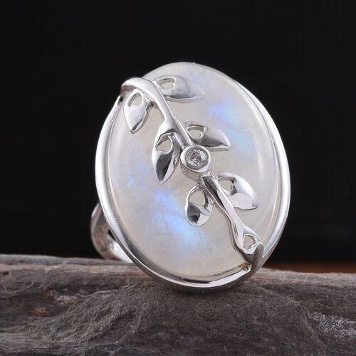 KIMBERLEY AAA Rainbow Moonstone (Ovl), Natural Cambodian Zircon Ring in Platinum Overlay Sterling Silver 31.500 Ct.
