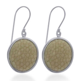 White Stingray Leather Hook Earrings