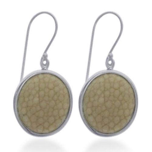 White Stingray Leather Hook Earrings