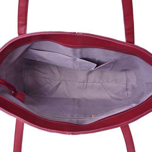 Italian Designer Inspired Embossed Red Colour Tote Bag (Size 45x33x28x12 Cm)