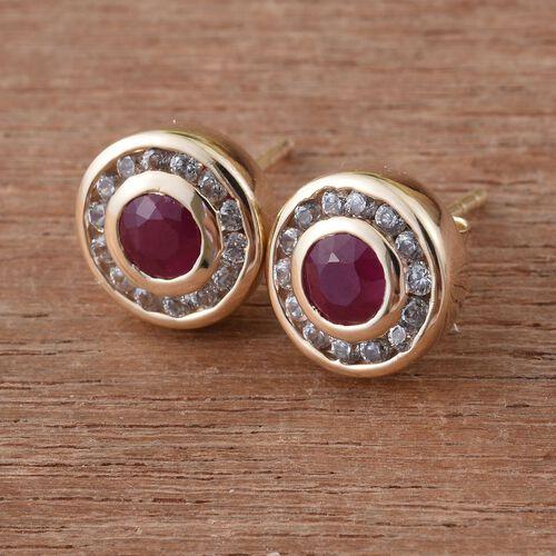 9K Yellow Gold 1 Carat AAA Burmese Ruby Halo Stud Earrings with Cambodian Zircon