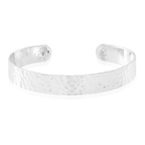 Vicenza Collection- Designer Inspired Sterling Silver Diamond Cut Cuff Bangle (Size 7.5), Silver wt 18.52 Gms.