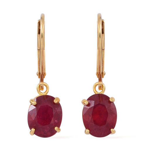 African Ruby (Ovl) Lever Back Earrings in 14K Gold Overlay Sterling Silver 5.500 Ct.