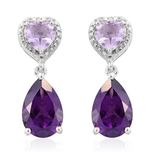 Lusaka Amethyst (Pear), Rose De France Amethyst Earrings (with Push Back) in Platinum Overlay Sterling Silver 7.000 Ct.
