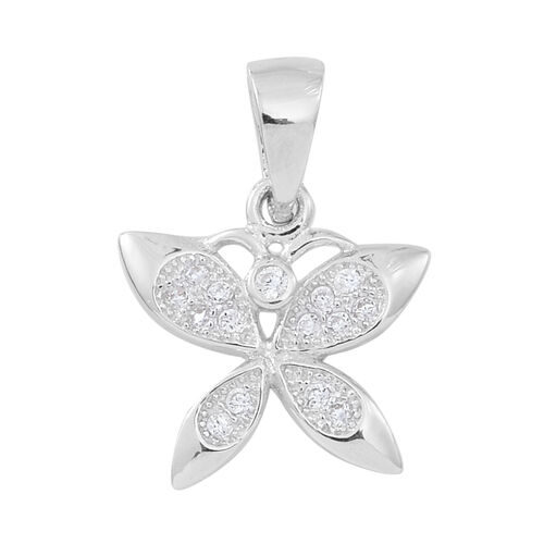 ELANZA AAA Simulated White Diamond (Rnd) Butterfly Pendant and Stud Earrings (with Push Back) in Rhodium Plated Sterling Silver