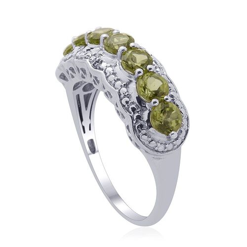 Hebei Peridot (Rnd) Diamond Ring in Platinum Overlay Sterling Silver  1.760 Ct.