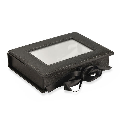 Handcrafted Eco Leatherette Black Colour Jewellery Box with Photo Frame on Top (Photo Size 15x10 Cm)
