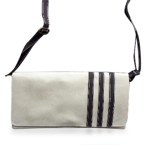 Faux Leather Cream Colour Shoulder Bag with Adjustable Chocolate Colour Strap (Size 12x8.5)