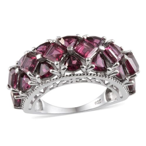 Rhodolite Garnet (Sqr) Ring in Platinum Overlay Sterling Silver 6.750 Ct.