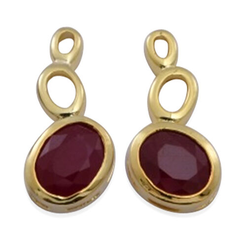African Ruby (Ovl) Earrings (with Push Back) in 14K Gold Overlay Sterling Silver 5.500 Ct.