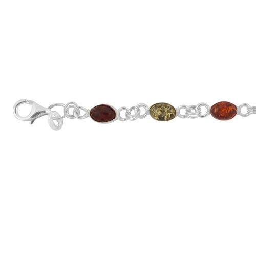 Baltic Multi Colour Amber (Ovl) Bracelet (Size 7.5) in Sterling Silver