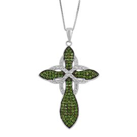 Designer Inspired- Russian Diopside and Natural White Cambodian Zircon Cross Pendant with Chain in Black Rhodium Plated Sterling Silver 2.550 Ct. Silver wt 5.70 Gms.