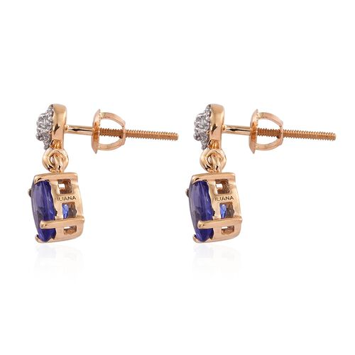 ILIANA 18K Yellow Gold 1.50 Ct AAA Tanzanite Earrings (with Screw Back) with Diamond SI G-H