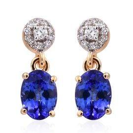 ILIANA 18K Yellow Gold AAA Tanzanite (Ovl), Diamond (SI G-H) Earrings (with Screw Back) 1.500 Ct.